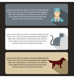 Pet care vet clinic banners set flat style vector