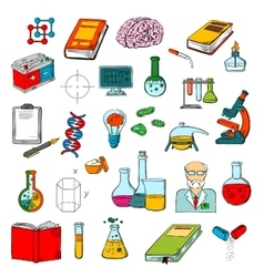 Physics chemistry medicine science research icon vector