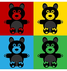 Pop art bear icons vector