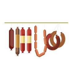 Sausages meat counter display or butcher shop vector