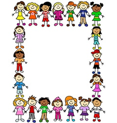 Seamless kids friendship pattern 2 vector image