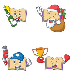 Set of open book character with beer gift plumber vector