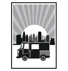 Silhouette truck urban sunny background poster vector