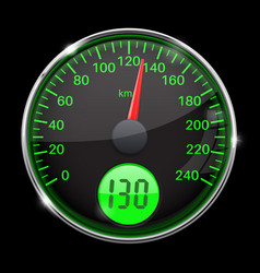 Speedometer round black and green gauge with vector