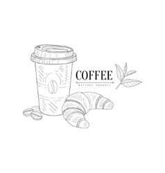 Take Away Coffee And Croissant Hand Drawn vector image