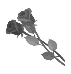 Two roses icon in monochrome style isolated on vector