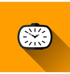 Vintage alarm clock flat icon with long shadow vector