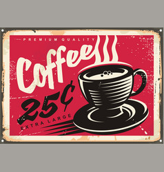 vintage coffee shop promotional sign vector image vector image