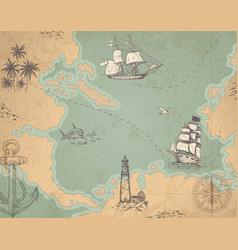 Vintage marine map vector