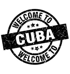 Welcome to cuba black stamp vector
