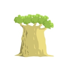 Wide old baobab tree jungle landscape element vector