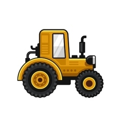 Yellow Farm Tractor Icon on White Background vector image