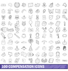 100 compensation icons set outline style vector