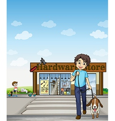 A boy crossing the street vector image