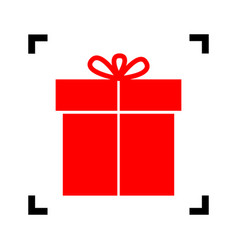 Gift sign red icon inside black focus vector
