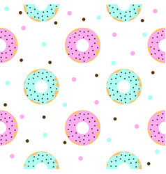 Donuts with pink and blue icing and chocolate vector