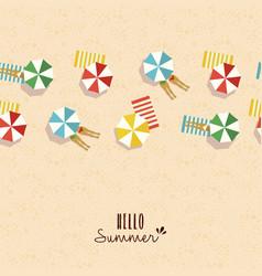 Hello summer card pattern of girls on beach vector