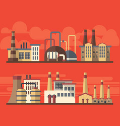Flat industrial factory landsapes on bright vector