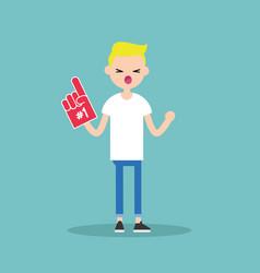young blonde teenage fan wearing foam finger vector image