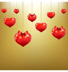 Hearts with red bows vector