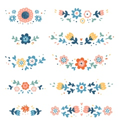 Decorative colorful floral compositions vector