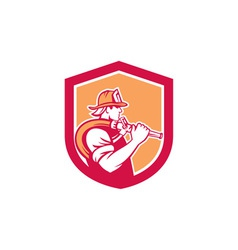 Fireman firefighter holding fire hose shoulder vector