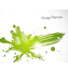 Green abstract brush art vector image