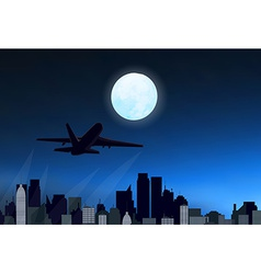 Night city with airplane vector