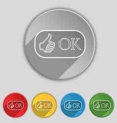 Ok sign icon positive check symbol set of colored vector