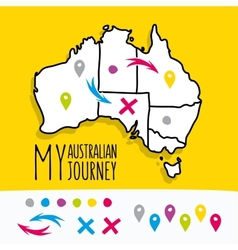Hand drawn My Australian Journey map project with vector image