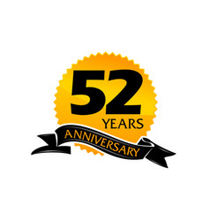 52 years ribbon anniversary vector image vector image