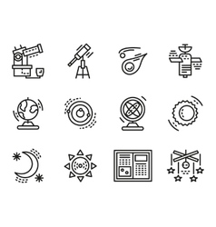 Black line icons for astronomy vector