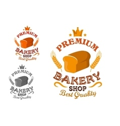Bakery shop emblem with bread and wheat ears vector