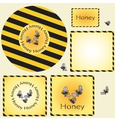 Design sticker and label for honey vector