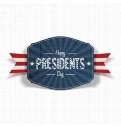 Vintage blue label with happy presidents day text vector