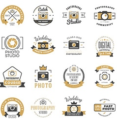 Set of photography logo design templates vector