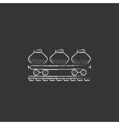 Cargo wagon drawn in chalk icon vector