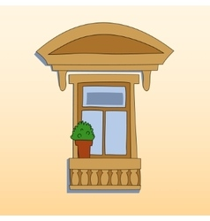 Retro style window exterior with a plant vector