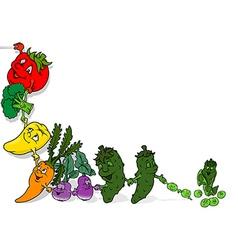Happy vegetables background vector