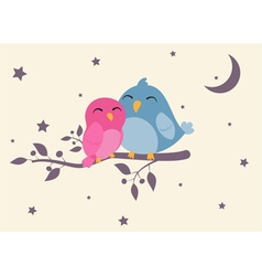 Couples of birds sitting on night scene vector