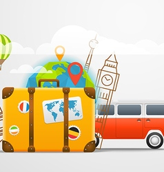 Vacation travelling composition with retro red bus vector