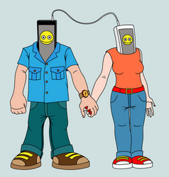 A pair of young people with gadgets man and woman vector
