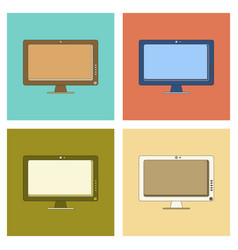 Assembly flat icon computer monitor vector