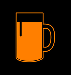 Beer glass sign orange icon on black background vector
