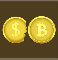 Bitcoin and cracked dollar coins vector