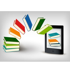 Books flying in an e-book vector