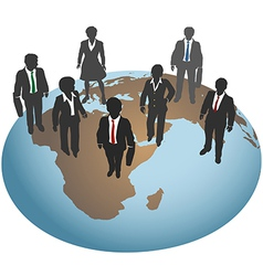 Business people stand on global world vector image vector image