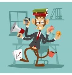 Cartoon monkey business man stress dancing vector
