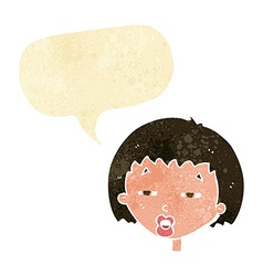 cartoon woman narrowing eyes with speech bubble vector image