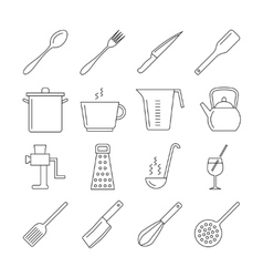 Cooking and kitchen tools line icons vector image